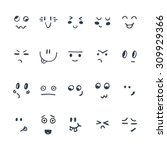 sketched facial expressions set....