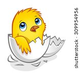 cartoon yellow newborn chicken... | Shutterstock .eps vector #309954956