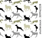 seamless dog pattern. black ... | Shutterstock .eps vector #309962228