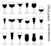 set of glasses with drink ... | Shutterstock .eps vector #309975362
