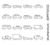outline car collection icon | Shutterstock . vector #309976532