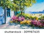 oil painting landscape   garden ... | Shutterstock . vector #309987635