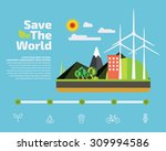 save the world infographic flat ... | Shutterstock .eps vector #309994586