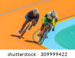 bike race on velodrome track... | Shutterstock . vector #309999422