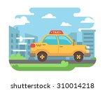 yellow taxi speeds down street...   Shutterstock .eps vector #310014218