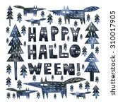 watercolor halloween card.... | Shutterstock . vector #310017905