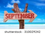 September Sign With Beach...