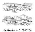 vector hand drawn village... | Shutterstock .eps vector #310063286