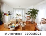 moving boxes in new house. new... | Shutterstock . vector #310068326
