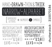 hand drawn narrow alphabet.... | Shutterstock .eps vector #310070186