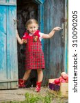 girl in a red dress near the... | Shutterstock . vector #310090205