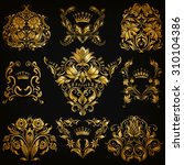 set of gold damask ornaments.... | Shutterstock .eps vector #310104386