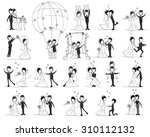 set of wedding pictures  bride... | Shutterstock .eps vector #310112132
