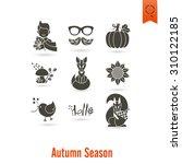 set of flat autumn icons.... | Shutterstock . vector #310122185