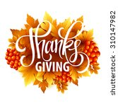 happy thanksgiving with text... | Shutterstock .eps vector #310147982