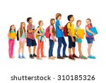 group of kids in a line side... | Shutterstock . vector #310185326