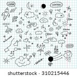 weather and space hand drawn... | Shutterstock .eps vector #310215446