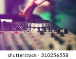 club dj playing mixing music on ... | Shutterstock . vector #310256558