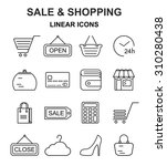 shopping line style black icons ...