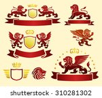 lions set with banners and... | Shutterstock .eps vector #310281302