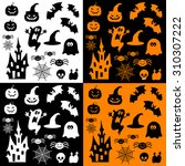 icons for halloween. pumpkins ... | Shutterstock .eps vector #310307222