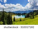 Stock photo image lake and glacier peak in washington usa 310317182