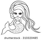 cute mermaid girl   vector... | Shutterstock .eps vector #310320485