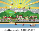 urban and village landscapes... | Shutterstock . vector #310346492
