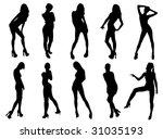 girls silhouette 4 | Shutterstock .eps vector #31035193