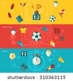 soccer banners flat set with... | Shutterstock . vector #310363115