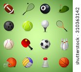 sports equipment icons set with ... | Shutterstock . vector #310363142