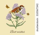 vintage flowers postcard design ... | Shutterstock . vector #310367342