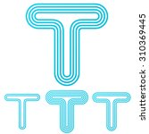 cyan line t logo design set