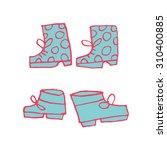 vector cartoon flat shoes set...
