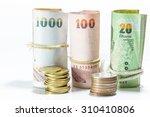 thai money banknotes on white... | Shutterstock . vector #310410806