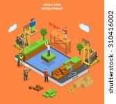 mobile game development flat... | Shutterstock . vector #310416002