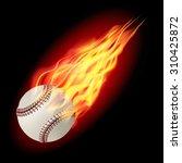 baseball in fire flying down.... | Shutterstock .eps vector #310425872