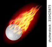 golf ball in fire flying down.... | Shutterstock .eps vector #310425875
