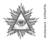 all seeing eye pyramid symbol... | Shutterstock . vector #310566956