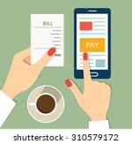 mobile payment concept. flat... | Shutterstock .eps vector #310579172