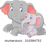 cartoon cute mother and baby... | Shutterstock . vector #310584752