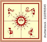indian tribal painting. warli... | Shutterstock .eps vector #310590545