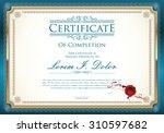 vector certificate template | Shutterstock .eps vector #310597682