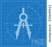 vector blueprint compasses icon ... | Shutterstock .eps vector #310649612
