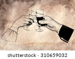 male and woman's hand holding ... | Shutterstock .eps vector #310659032