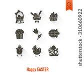 celebration easter icons. .... | Shutterstock . vector #310660922