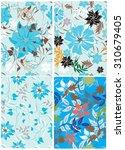 floral seamless pattern set  ... | Shutterstock .eps vector #310679405
