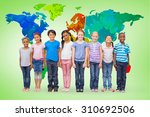 cute pupils smiling at camera... | Shutterstock . vector #310692506