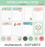 cute vector cards  notes ... | Shutterstock .eps vector #310718072
