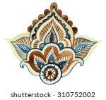 watercolor paisley element of...   Shutterstock . vector #310752002